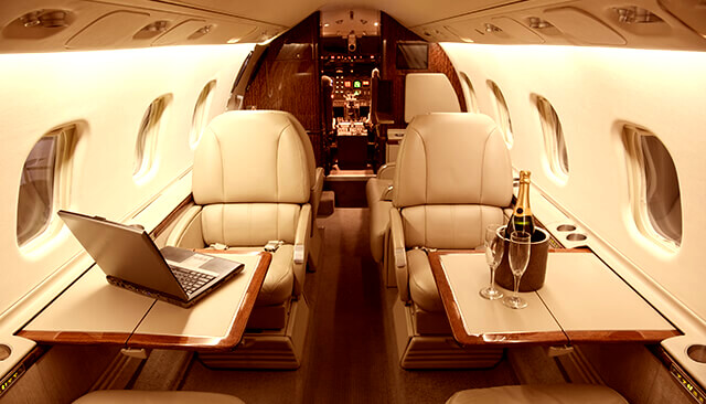 Image of the inside of a private Air CM Global AOC aircraft managed jet