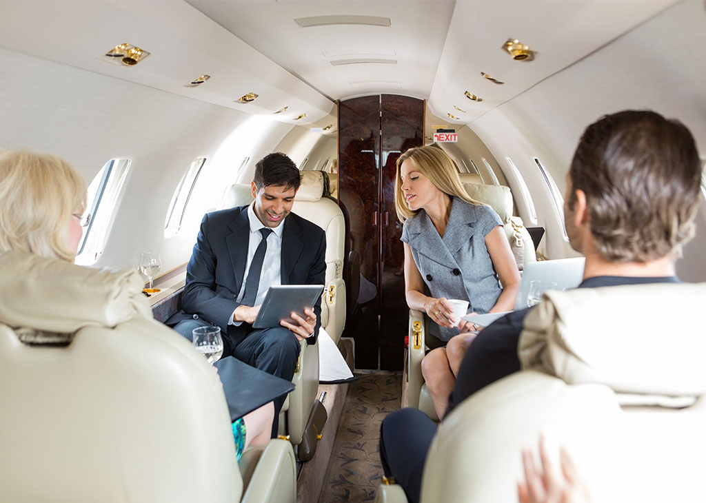 business people working private jet in